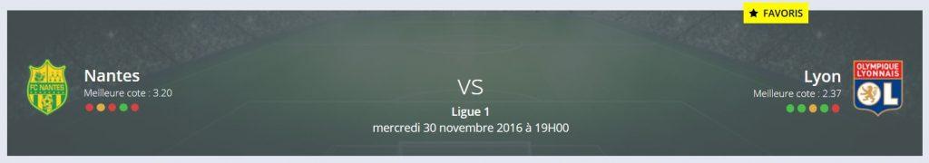 Pronostic Nantes Lyon Ligue 1 sur Rue des Joueurs : Lyon est favori !